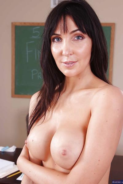 Brunette milf teacher Diana Prince shows off her ass in skirt