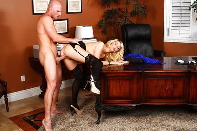 Juggy office lady in stockings Courtney Taylor gets pounded hardcore