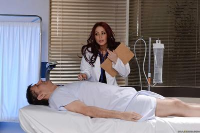 Pantyhose clad doctor Monique Alexander flashes white panties under uniform