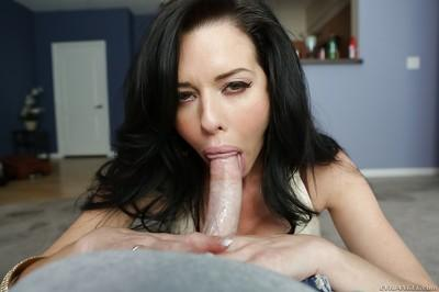 MILF pornstar with big boobs babe gives a blowjob and a titjob
