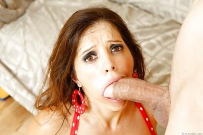 Spicy model with unshaved snatch Francesca Le is riding very high