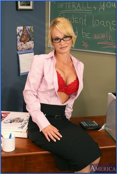 Hot teacher in glasses Tyann Mason strips from red lace lingerie