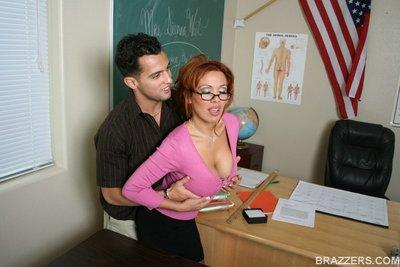 MILF teacher in glasses Sienna West feeling a big boner in her pussy