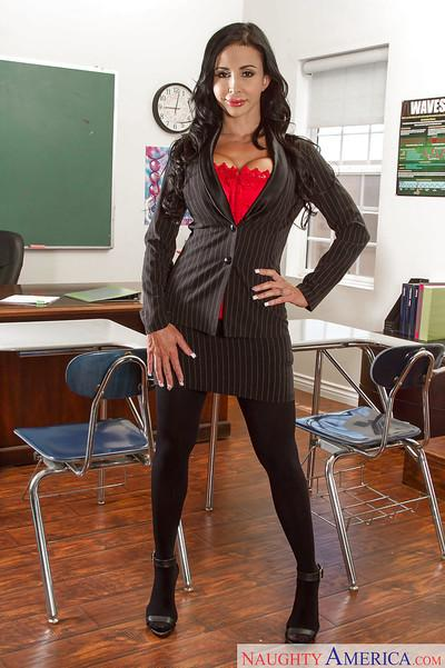 Curvy teacher in stockings Jewels Jade exposing her big booty in classroom
