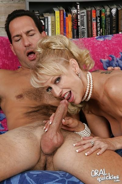 Lecherous blonde MILF gives a nice blowjob for cum on her eager face