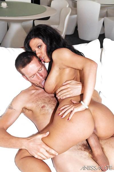 Ebony milf Tina likes to ride that huge cock and have anal too