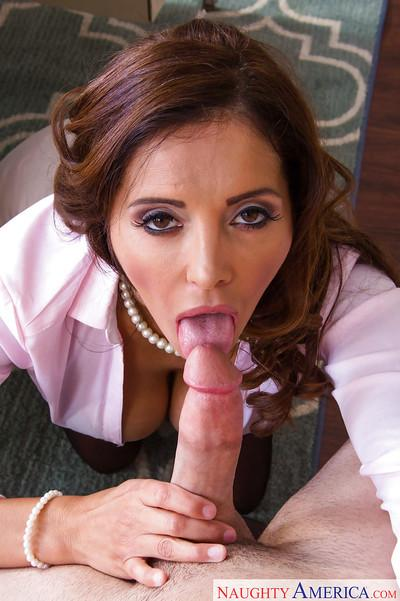 Latina teacher Francesca Le is sucking dick of her lovely stud