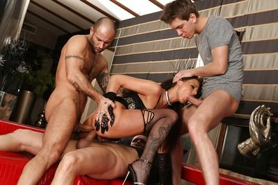 Euro brunette Simony Diamond sucks and fucks a whole lot of dick