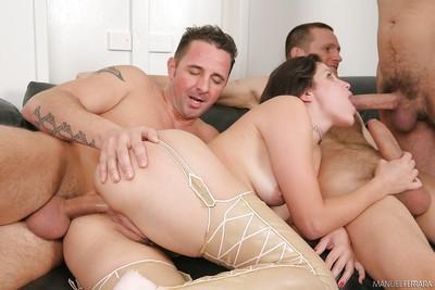 Filthy whore Bobbi Starr taking wicked triple penetration