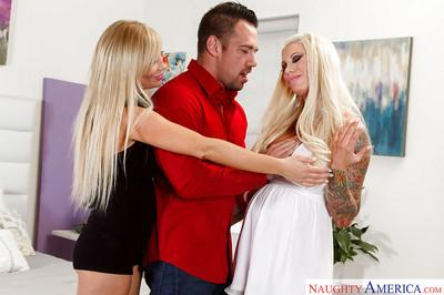 Big boobed blonde pornstars Lolly Ink and Tasha Reign lick nipples and cock