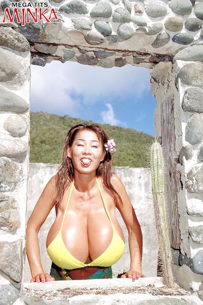 Asian beach babe Minka unleashing massive MILF tits from bikini outdoors