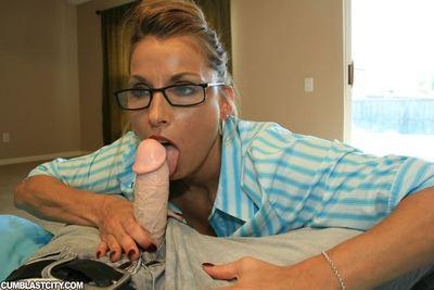 Seductive MILF in glasses gets bukkaked after a great blowjob
