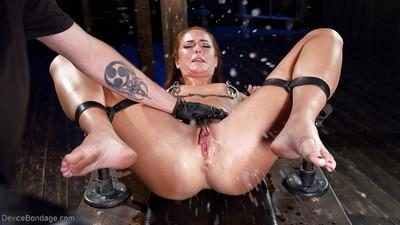 European fetish model Bianca Breeze is forced to squirt during masturbation