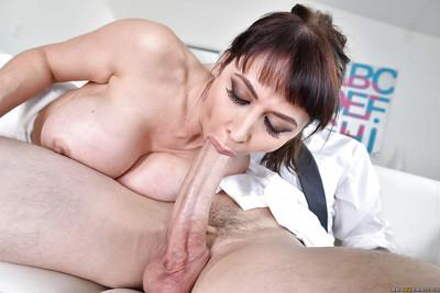 Buxom MILF Eva Karera riding a huge penis after tit fucking session