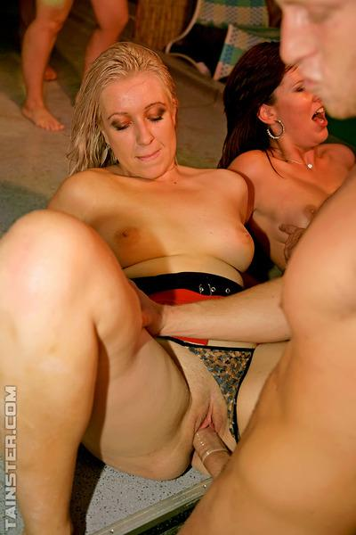 Filthy chicks getting shagged hardcore by male strippers at the drunk party