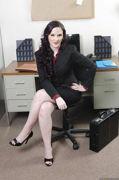 Office MILF in glasses Caroline Pierce showing shaved pussy at work