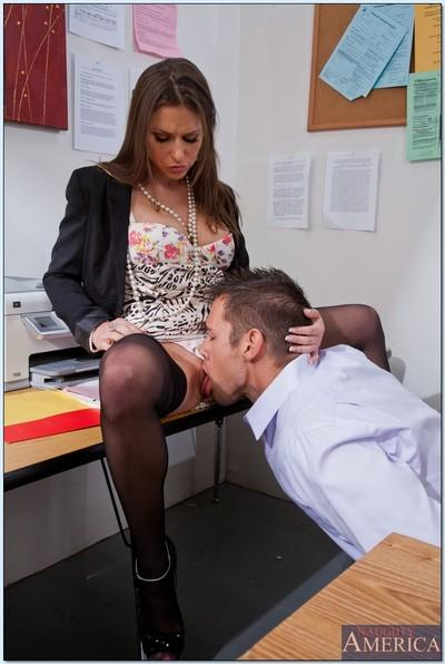 Reality turns into hardcore pussy lick in office for milf Rachel Roxx