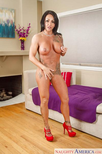 Tattooed milf Ashton Blake is demonstrating her nice pierced nipples