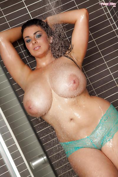 Outstanding busty milf Karla James is standing under the shower