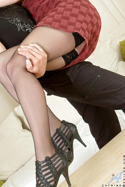 Slim MILF in stockings gives head and gets banged from behind
