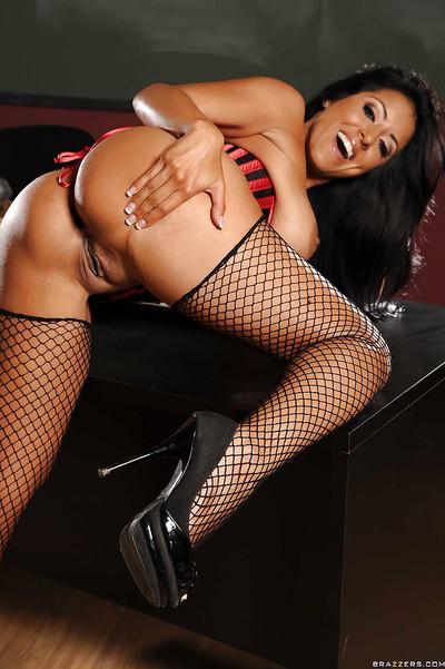 Sexy Latina MILF teacher Kiara Mia exposes her big melons