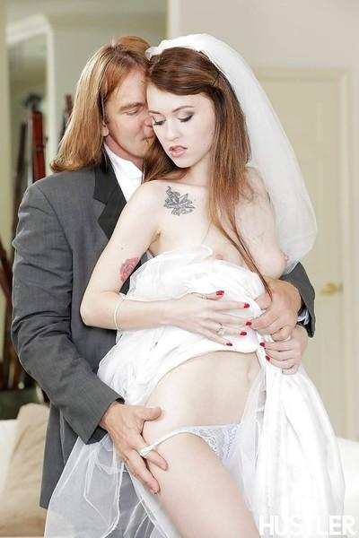 Redhead bride Misha Cross deepthroats a cock on her wedding night