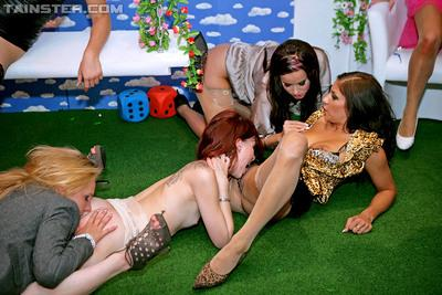 Salacious european MILFs make a fervent lesbian orgy at the pissing party