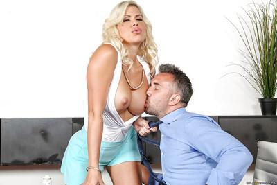 Desirable blonde office MILF Savana Styles gagging on a big hard rod