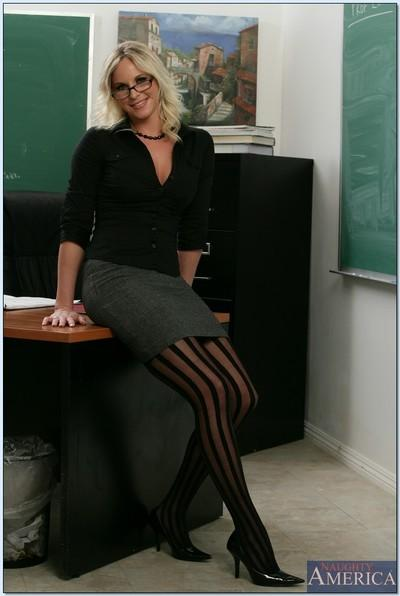 Blond teacher in stockings Britannie Lane brings out her MILF tits