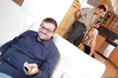 Blonde wife Gigi Allens gives her husband friend a blowjob in kitchen
