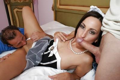 Slutty MILF in maid uniform gets her holes filled with two hard dicks