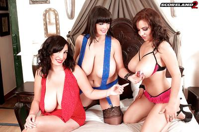 Busty Euro moms engage in all girl lesbian threesome with strapon fucking