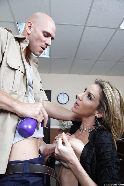 Big titted office MILF Kayla Paige pleasuring giant dick at work
