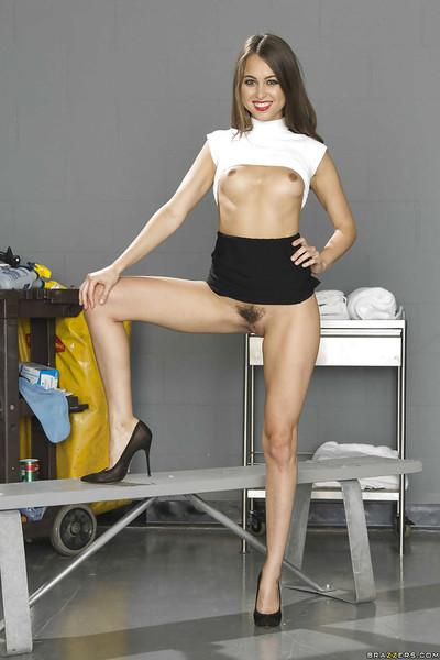 Amazing skinny office babe Riley undressing to show her pussy