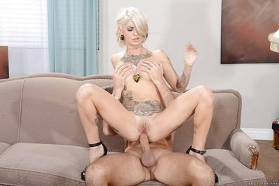 Tattooed blonde sweetheart gets anally crashed and facialized