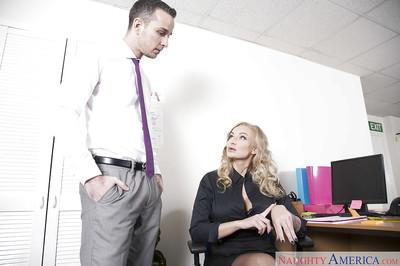Nylon attired blonde European MILF Kayla Green giving blowjob in office