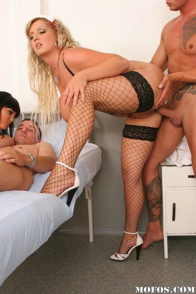 Stupendous sluts with big jugs have a groupsex with lucky guys