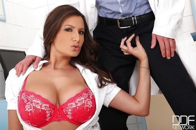 Stunning big tit nurse Sensual gives a good european blowjob