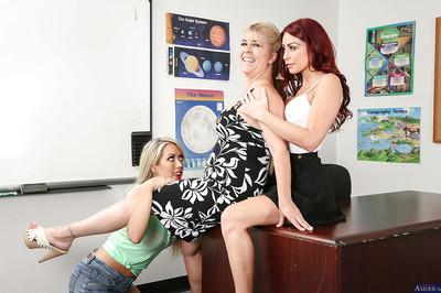 Milf teacher Monique Alexander and her student Capri Cavanni in a threesome