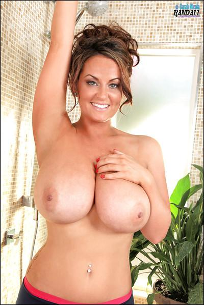 Beautiful girl with huge tits Sarah taking a shower naked