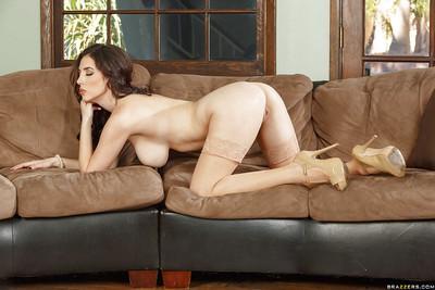 Big tit Milf babe Jelena Jensen posing in high heels and lingerie