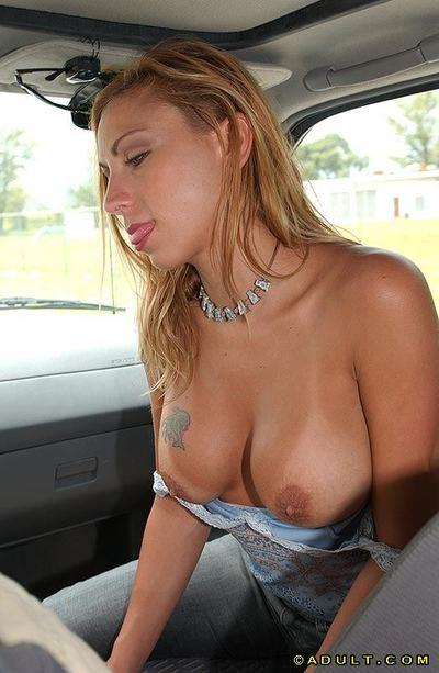 Chippy MILF showing off her cock sucking skills on the back seat