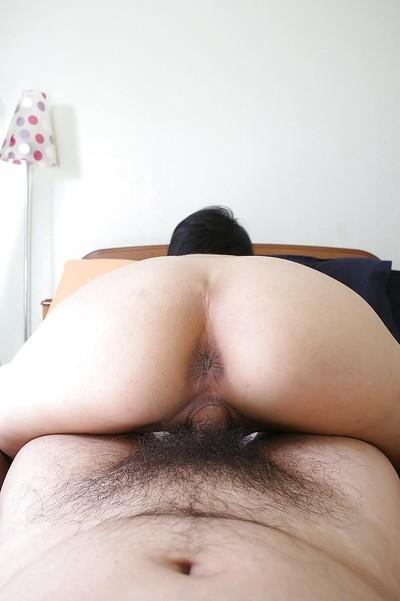 Saucy asian MILF Ayano Nagasawa gives head and gets her hairy cunt banged