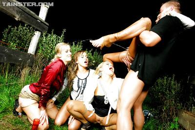 Lewd fetish ladies have some hard and wet fully clothed fun with a hung lad