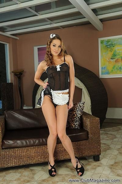 Milf Cali Luv posing seductively in sexy french maid uniform
