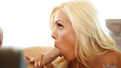 European milf Nina Elle enjoys licking balls and sucking cock