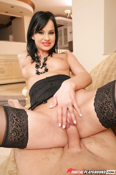 Hardcore black-haired milf Abbie Cat is riding on the wiener
