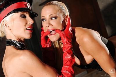 Lesbian pornstars Puma Swede & Sandy getting nasty in steamy fetish sex