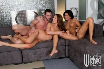 Jessica Drake & Victoria Lawson are into passionate groupsex with a lucky guy