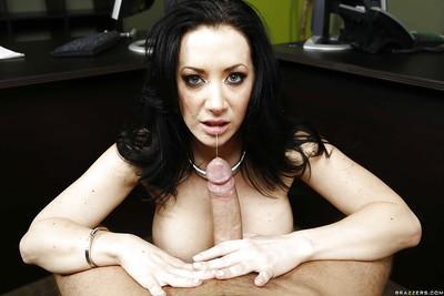 Milf brunette with big tits Jayden Jaymes has sex in the office